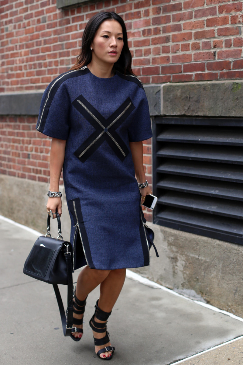 Stylist Blogger Tina Leung At New York Fashion Week In A Balenciaga Dress Dior