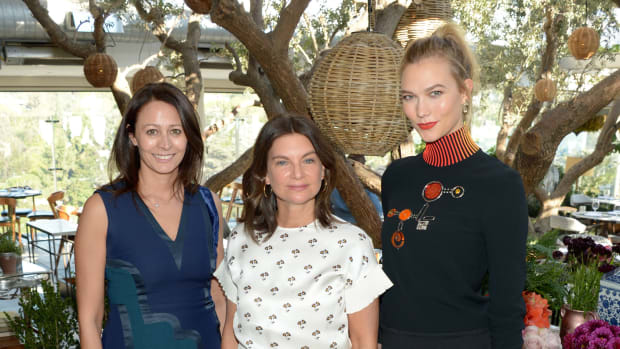 Caroline Rush CBE, Dame Natalie Massenet and Karlie Kloss announce The Fashion Awards 2016 nominees at Soho House in LA (Matt Winkelmeyer).JPG