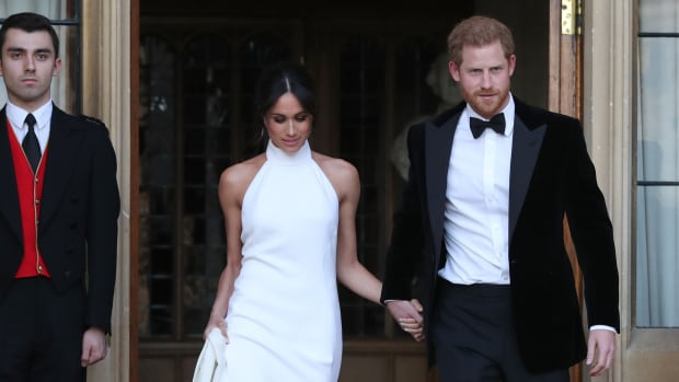Meghan Markle Wears Bespoke Stella McCartney to Her and Prince Harry s  Evening Wedding Reception b2952a7b4034
