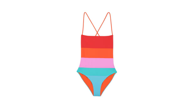 mara hoffman rainbow swimsuit one piece