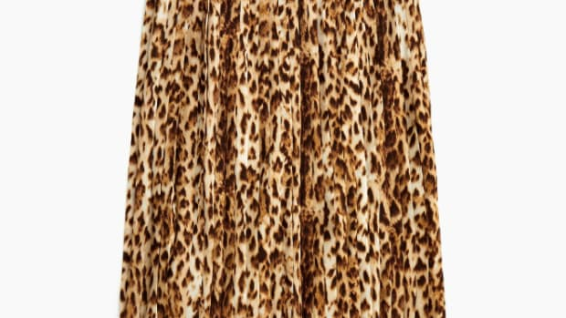 jcrew pleated leopard midi skirt