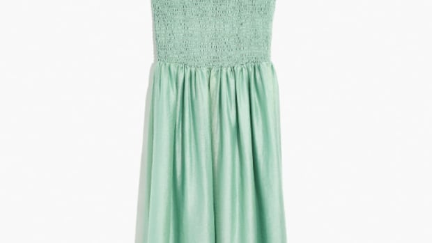 madewell ruffle-strap smocked dress