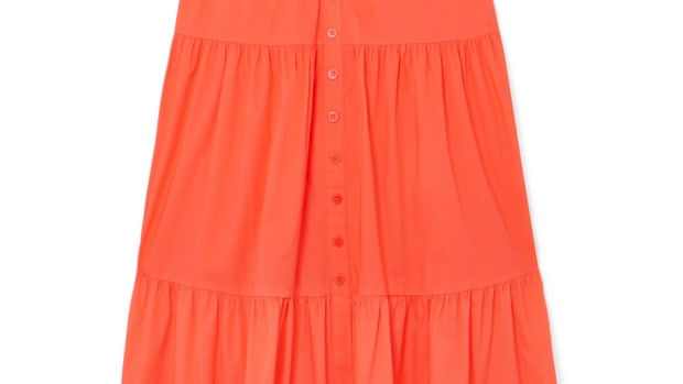 staud elio orange dress