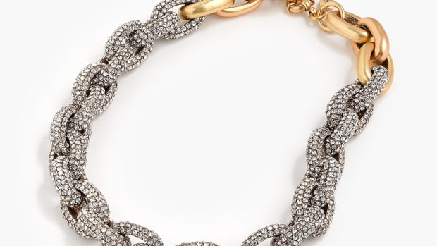 jcrew pave crystal link necklace