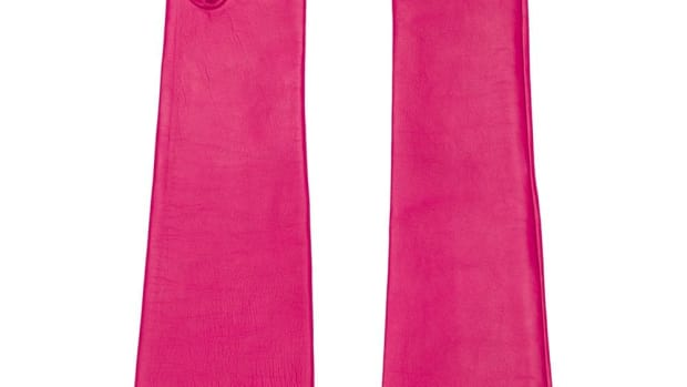 no 21 long leather gloves pink