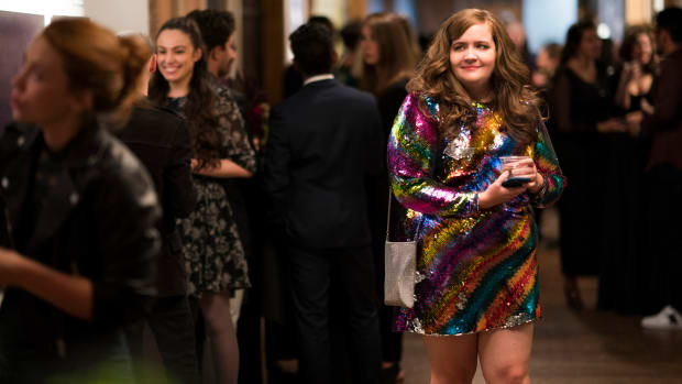 main-shrill-hulu-aidy-bryant-annie-sequin-rainbow-dress