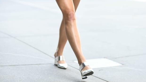 silver block heels crop