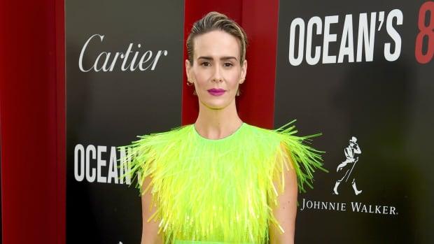 sarah paulson neon prada dress