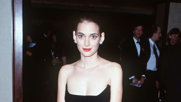 young winona ryder fashion style black dress