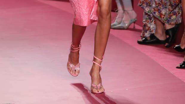 A model walks the runway at the Blumarine fashion show during the Milan Fashion Week