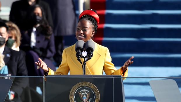 Youth Poet Laureate Amanda Gorman speaks during the inauguration of U.S. President-elect Joe Biden on the West Front of the U.S. Capitol