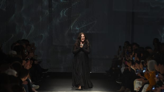 Angela Missoni acknowledges the applause of the audience at the Missoni fashion show as part of Milan Fashion Week Fall:Winter 2020-2021