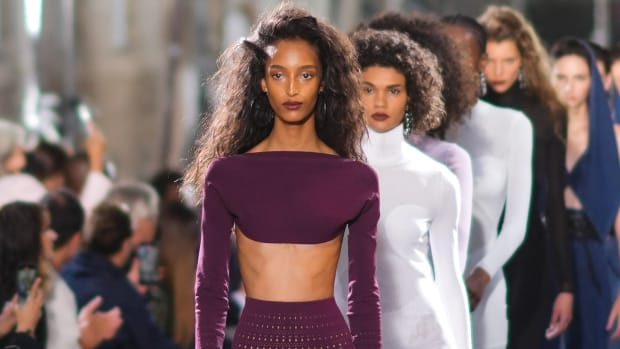 A model walks the runway, during Alaia, as part of Paris Fashion Week Fall:Winter 2021:2022