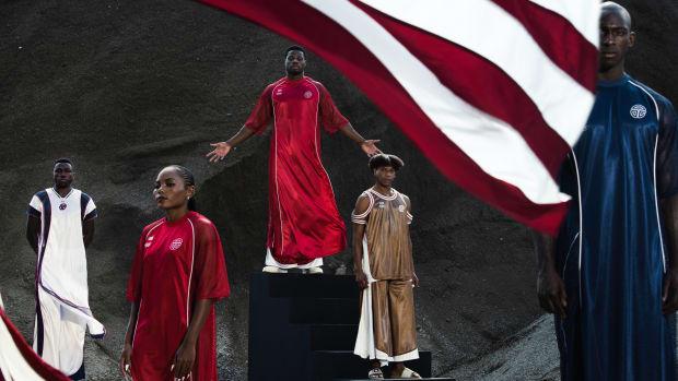 Telfar Olympics From Left to Right- Joseph Fahnbulleh (Olympian), Ebony Morrison (Olympian), Emmanuel Matadee (Olympian), Telfar Clemens (Designer), Mohammed (stand-in model)