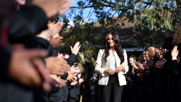 eghan, Duchess of Sussex visits the the Robert Clack Upper School in Dagenham to attend a special assembly ahead of International Women's Da