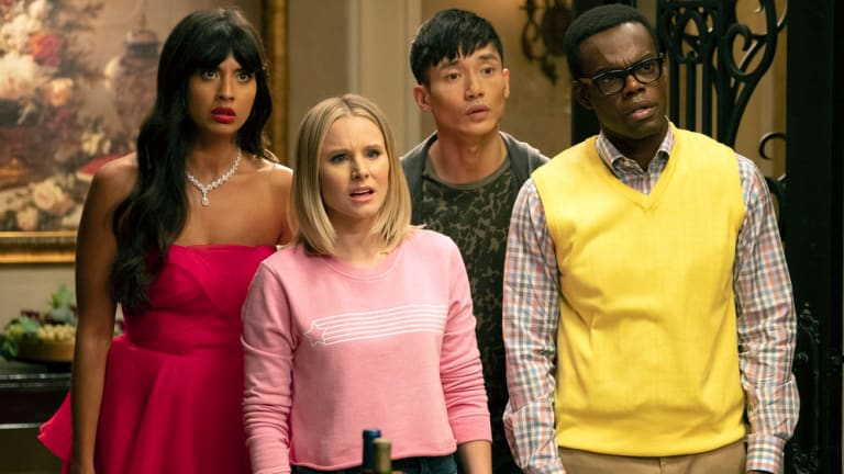 The Good Place Costume Designer Drops Easter Eggs Into Eleanor S Sweatshirts And Jason S Tracksuits Fashionista