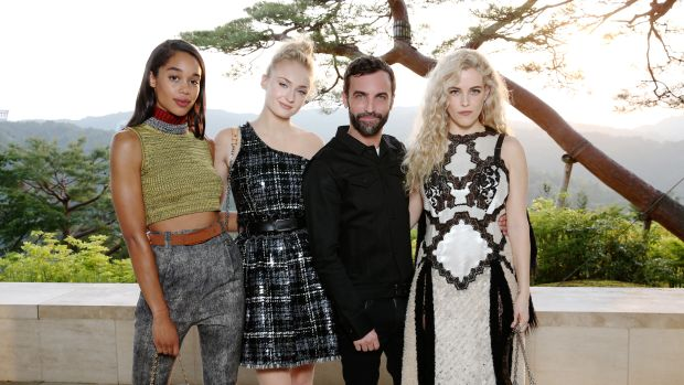 Laura Harrier, Sophie Turner, Nicolas Ghesquiere, Riley Keough