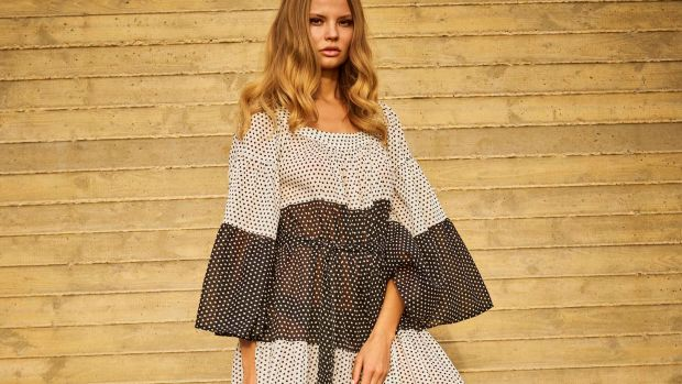 LOOK 1, PEASANT MAXI DRESS BLACK AND WHITE POLKA DOTTED SHEER COTTON cropped