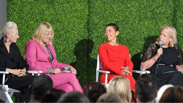 Booth Moore (far R) moderates a fashion discussion with Emmy-nominated costume designers Lou Eyrich Marie Schley and Ane Crabtree at Beverly Center and The Hollywood Reporter's Candidly Costume event at Beverly Center