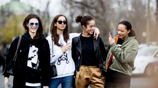 Models on the street at PFW