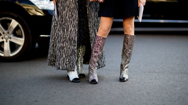 chanel glitter boots