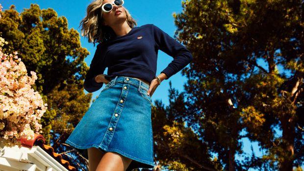 mother denim miranda-kerr-mother-collaboration-cropped-sweatshirt-mini-flare-skirt