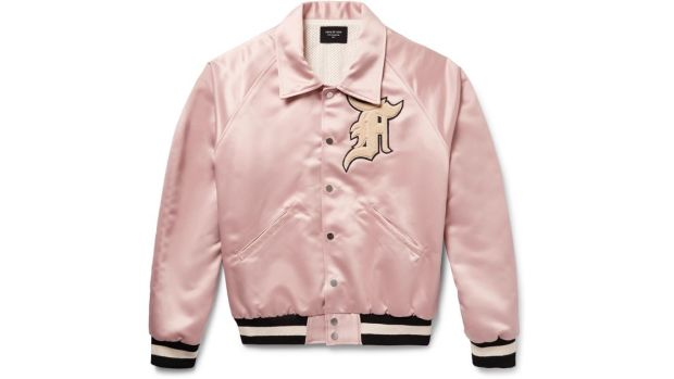 fear of god pink silk bomber