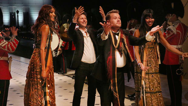 Jourdan Dunn, Christopher Bailey, James Corden and Naomi Campbell at the Burberry _London in Los Angeles_ Show Finale copy.jpg