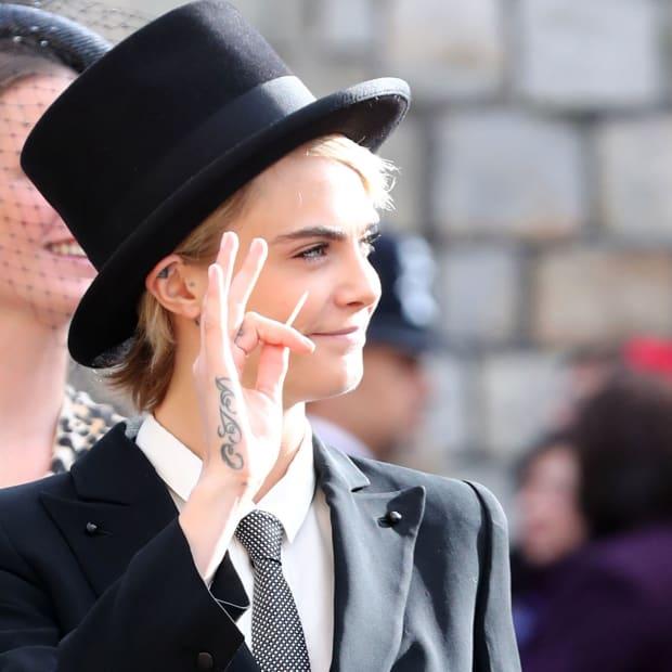 hp-cara-delevingne-top-hat-tuxedo-princess-eugenie-royal-wedding
