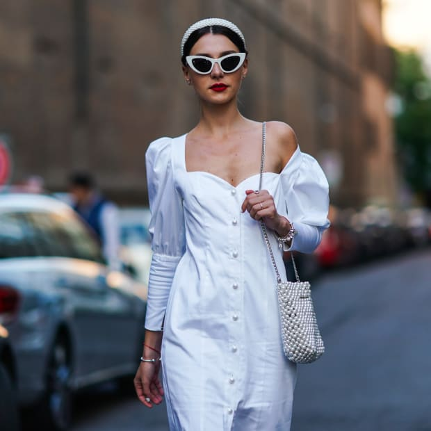 Street Style Milan Fashion Week Spring 2020 White Sundress