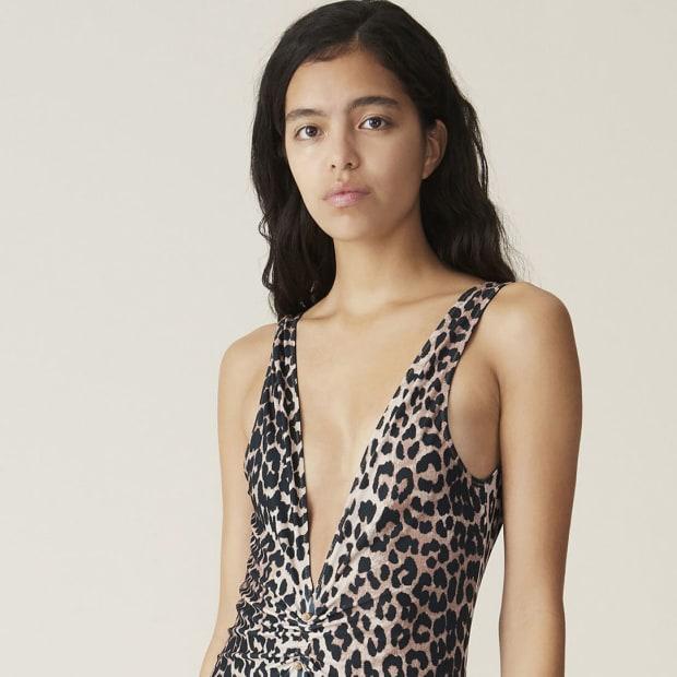 Ganni Plunge Leopard Print Swimsuit