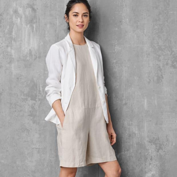 1-Organic Linen Short Jumpsuit
