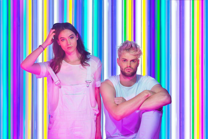 """New York-based Sophie Hawley-Weld and Tucker Halpern made their debut as Sofi Tukker with their EP """"Soft Animals"""" in 2016. You may recognize their Grammy-nominated track """"Drinkee"""" from an Apple Watch commercial, or their newly released singles """"Greed"""" and """"Johny,"""" which just got the remix treatment from DJ/producer Moon Boots. Catch Sofi Tukker at Coachella on Sunday (both weekends) at 1 p.m. We have a feeling you won't be able to sit still in the presence of this dance-worthy duo.Photo: Toma Kostygina"""
