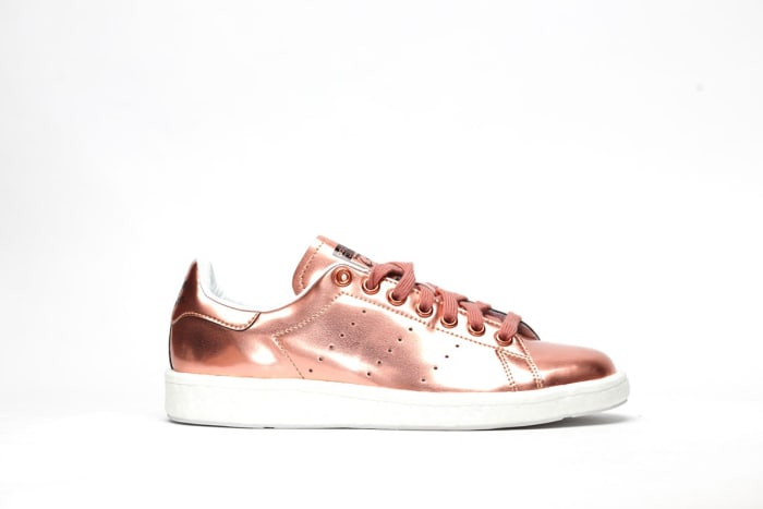 Stan Smiths in Coppermet, $130, available at Afew