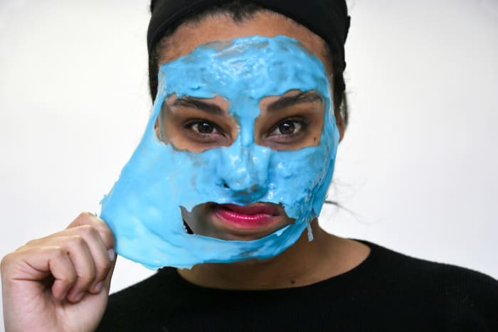 "Dr. Dennis Gross Hyaluronic Marine Hydrating Modeling Mask, $46, available at Sephora: The only ""rubber"" mask of the group (meaning it begins as a powder you mix with water to form a rubbery layer that's much thicker than the other formulas), this bright-blue pick had a ""jelly slime"" quality for Chloe, but... in a good way. With hyaluronic acid and marine algae, this hydrating mask leaves skin feeling coddled, not stripped, when you peel it off. Chloe also enjoyed the hands-on ""science experiment"" act of concocting the mask in the included bowl before smoothing it over her skin."
