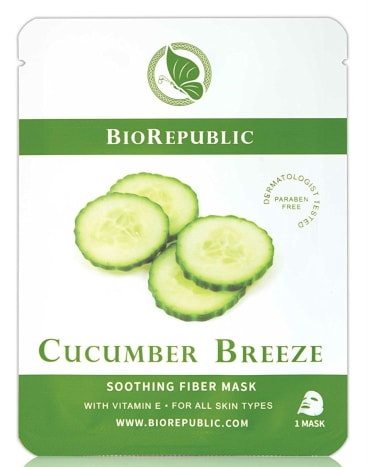 "BioRepublic Cucumber Breeze Soothing Sheet Mask, $4.99, available at BioRepublic. ""This is the first cucumber mask I fell in love with. It's honestly perfect and very gentle, so it's great for sensitive skin. I throw a few in the fridge for an extra cooling sensation on hot days."""