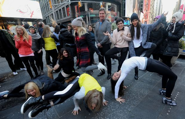 Outgoing Lululemon CFO John Currie in Times Square Wednesday. Photo: Brad Barket/Getty Images