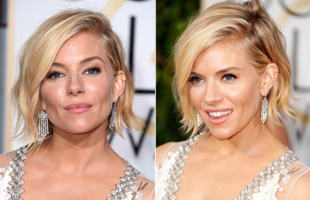 Sienna Miller looks so smug here because she knows she won Golden Globes hair. Photos: Steve Granitz & Jeff Vespa/Getty Images