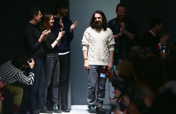 Alessandro Michele on the runway at the end of the Gucci menswear show on Monday in Milan. Photo: Vittorio Zunino Celotto/Getty Images