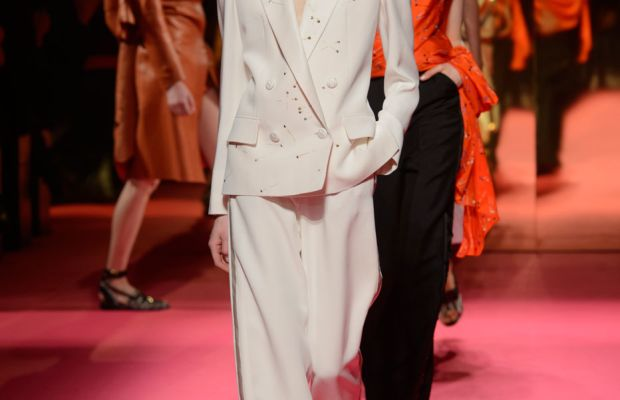 Schiaparelli's spring/summer 2015 couture collection, shown in Paris Monday, was produced without a creative director. Photo: Imaxtree