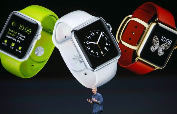 Apple CEO Tim Cook announces the Apple Watch in September. Photo: Justin Sullivan/Getty Images