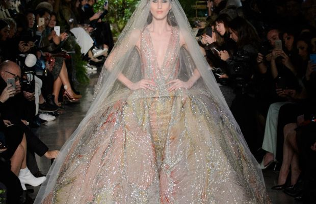 A look from Elie Saab's spring 2015 couture collection. Photo: Imaxtree