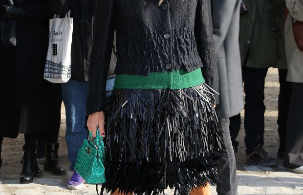 Looks like ADR and Pharrell borrow from the same showroom. Anna Dello Russo outside the Louis Vuitton fall 2014 Paris Fashion Week show. Photo credit: Pierre Suu/Getty Images