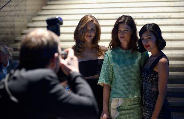 Chiara Ferragni, Hanneli Mustaparta and Nicole Warne. Photo: Clemens Bilan/Stringer