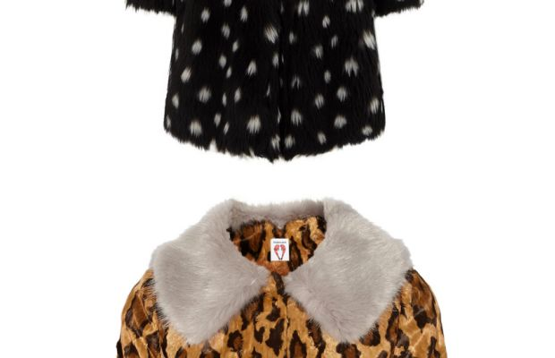 Ainea Multi Spotted Faux Fur Coat, $790, available at Avenue32, and ShrimpsCropped leopard-print faux fur jacket, $630, available at Net-a-Porter.