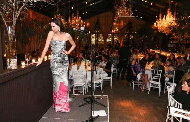 """Minnie Driver, wearing a dress from the """"Escada Meets Thilo Westermann"""" collection, prepares to perform at the dinner Tuesday night. Photo: Courtesy of Billy Farrell Agency"""