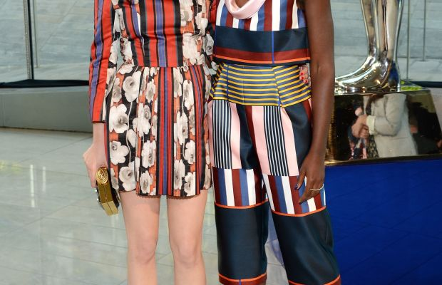 Stylist Micaela Erlanger and Lupita Nyong'o in Suno at the 2014 CFDA Awards. Photo credit: Larry Busacca/Getty Images