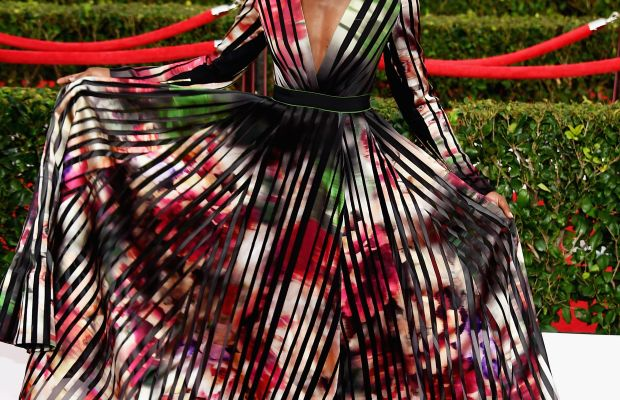 Lupita Nyong'o in Elie Saab at the 2015 SAG Awards. Photo: Ethan Miller/Getty Images