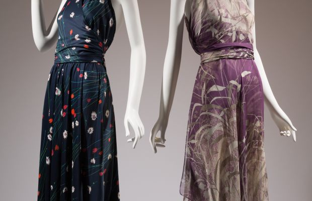 Left: Halston dress, printed knit cotton, c.1976, gift of Ms. Gayle Osman. Right: Yves Saint Laurent dress, printed silk chiffon, 1971, gift of Lauren Bacall.
