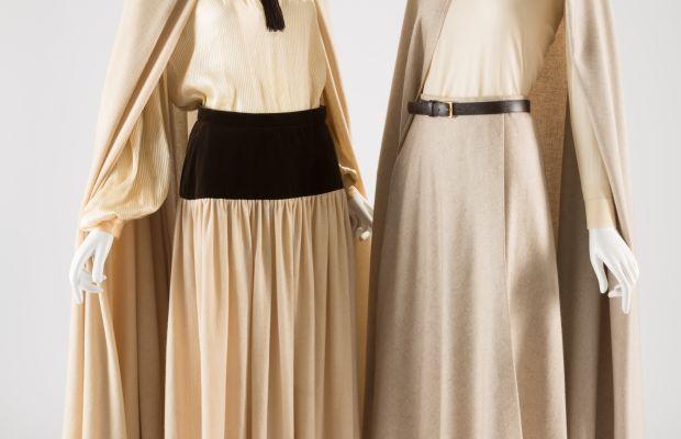 Left: Saint Laurent Rive Gauche ensemble of off-white wool, brown velveteen and off-white nylon, 1976. Right: Halston ensemble of off-white wool, 1970-71. Photo: FIT Museum